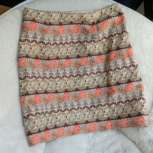 Loft Patterned A Line Skirt